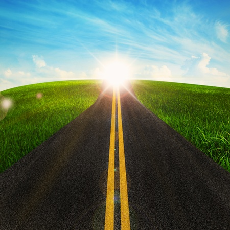 move ahead: long road in beautiful nature  Stock Photo