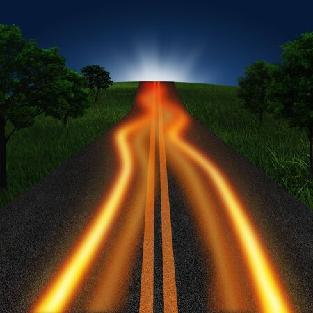 move ahead: long road in twilight time Stock Photo