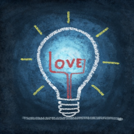 love in light bulb drawing by chalk photo