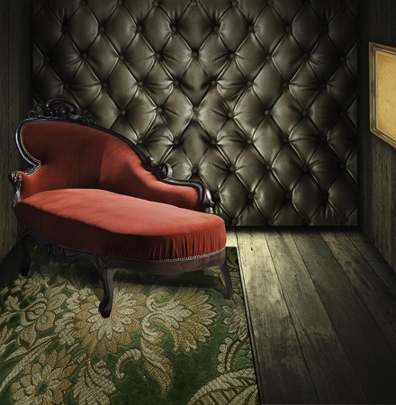 sofa: Luxury retro room interior