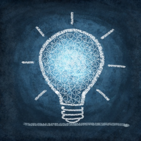 duties: light bulb drawing by chalk Stock Photo
