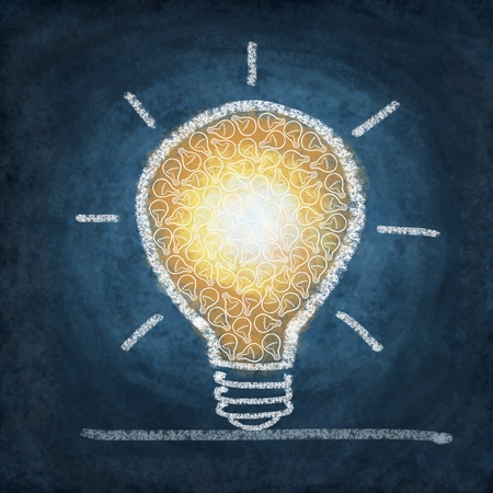 math icon: light bulb drawing by chalk Stock Photo