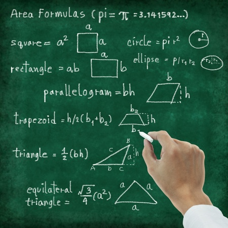 algebra: maths formula on chalkboard , area formulas