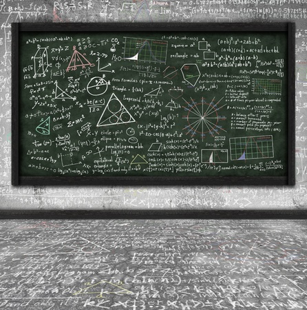 trigonometry: maths formula on chalkboard in classroom Stock Photo