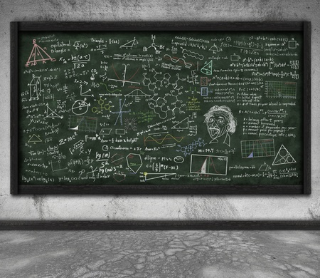 classroom chalkboard: maths formula on chalkboard in classroom Stock Photo