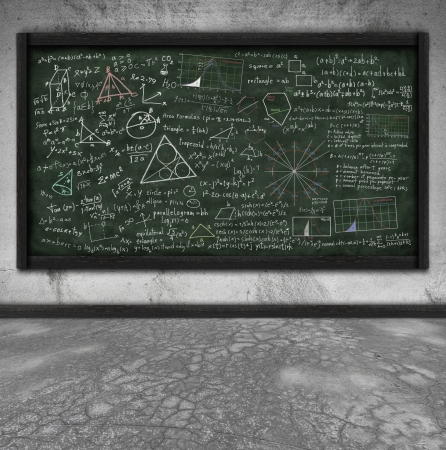 maths formula on chalkboard in classroom photo