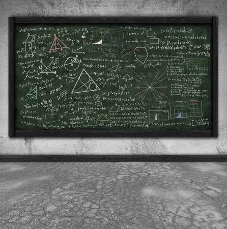 maths formula on chalkboard in classroom photo
