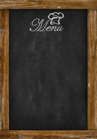 restaurant dining: menu writing on chalkboard with space