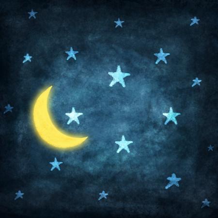 noche y luna: la noche con estrellas y la luna de dibujo con tiza Foto de archivo