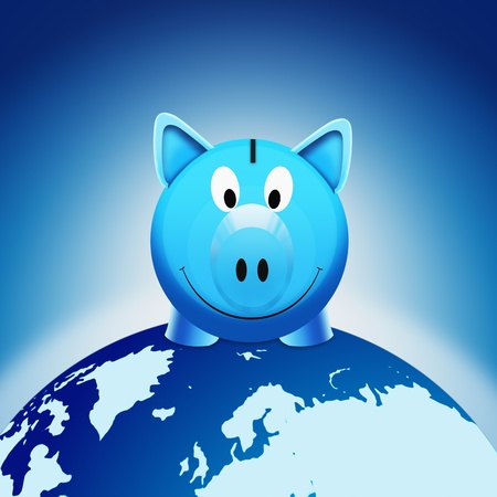 piggy bank stand on globe in blue space photo