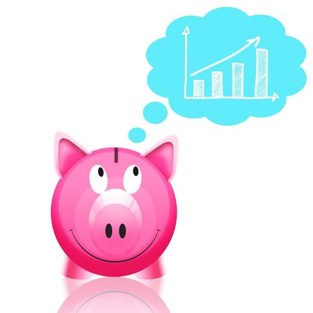 piggy bank with graph isolated on white background Stock Photo - 11821639
