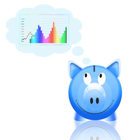 piggy bank with graph isolated on white background photo