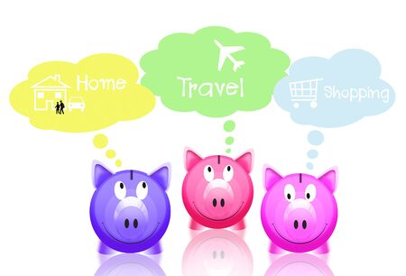 pink piggy bank with speech balloons photo