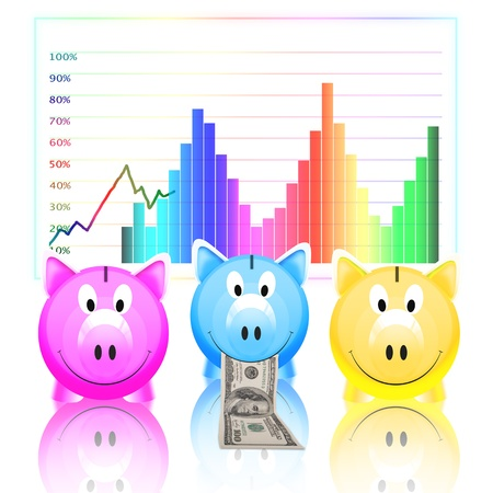 piggy bank with money and graph isolated on white background Stock Photo - 11824637