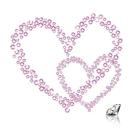 diamond heart on white background ,love valentine Stock Photo - 11825232