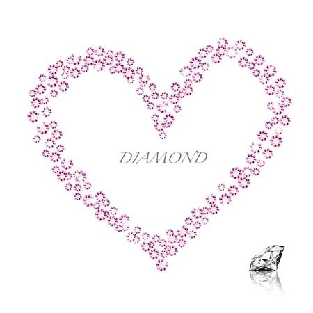 diamond heart on white background ,love valentine Stock Photo - 11825704