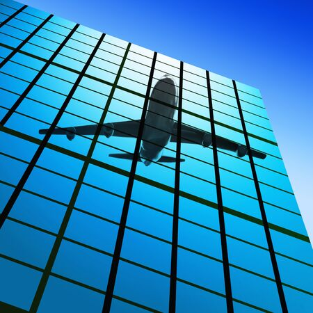 reflect of plane in modern skyscrapers photo