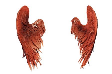 alas de angel: alas rojas sobre fondo blanco Foto de archivo