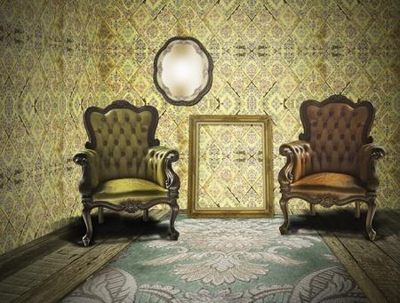 luxury hotel room: Retro and vintage room interior