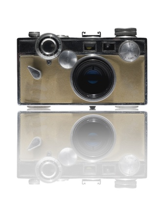 retro camera on white background photo