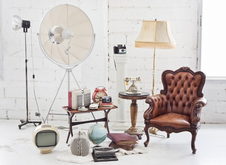retro furniture and decoration in white room photo