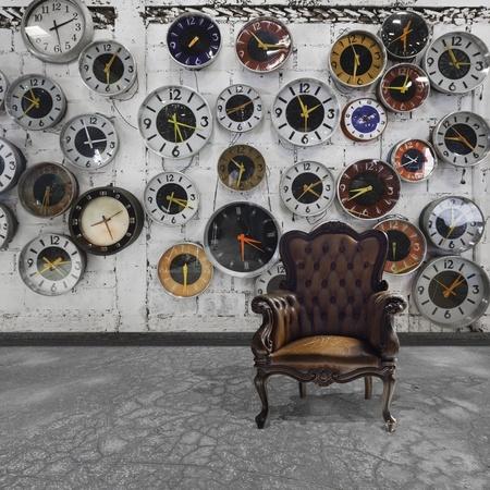 horloge ancienne: salle r�tro avec des horloges d�cor�es sur le mur