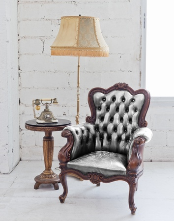 antique chair: leather chair Stock Photo