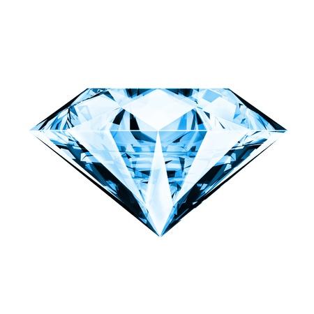 three dimensional shape: single blue diamond ,front side Stock Photo
