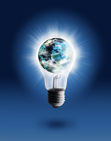light bulb idea: Single light bulb with globe