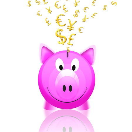 single pink piggy bank with money icon isolated on white background Stock Photo - 11823655