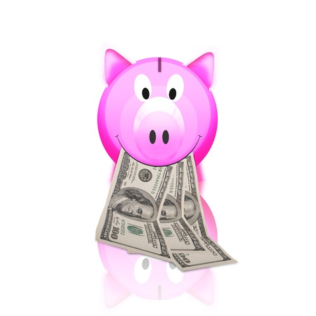 piggy bank with money isolated on white background photo