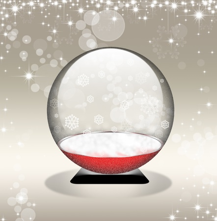 snow globe in golden background with stars photo