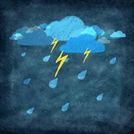 weather icon ,rainy day with storm and thunder Stock Photo - 11823238