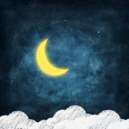 sonne mond und sterne: Wetter-Symbol Zeichnung auf Tafel, Nachtzeit, Lächeln Mond