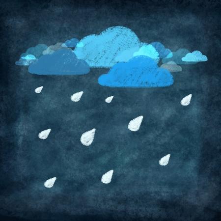 weather icon drawing on chalkboard,rainy day   photo