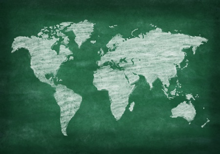 world map on chalkboard ,chalk drawing photo