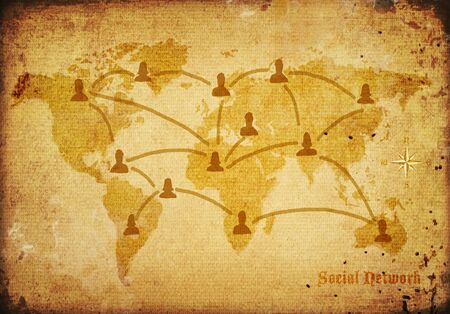 world map on very old canvas with social network concept  photo