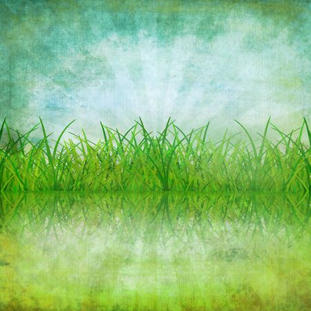 old grunge paper ,nature and grass ,retro background photo