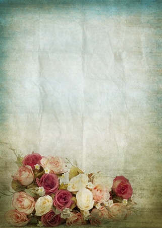 old writing: old grunge paper ,flowers pattern ,retro background Stock Photo