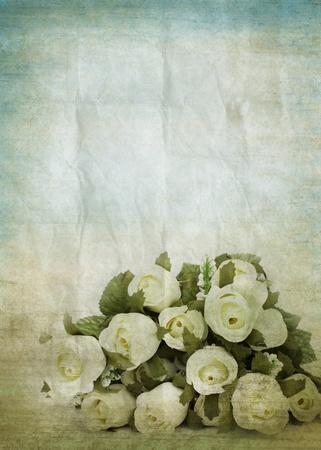 papel quemado: grunge papel viejo, patrón de flores, fondo retro