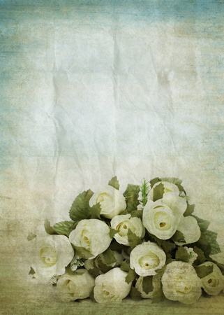 burned paper: old grunge paper ,flowers pattern ,retro background Stock Photo