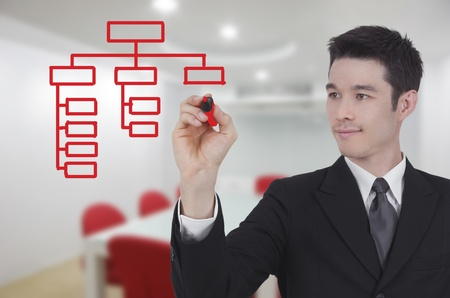 business man drawing world map graph in conference room photo