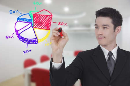 virtual office: business man drawing world map graph in conference room