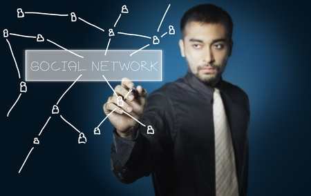 network marketing: business man drawing social network on screen