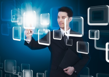 business man pressing a touchscreen button Stock Photo - 11873839