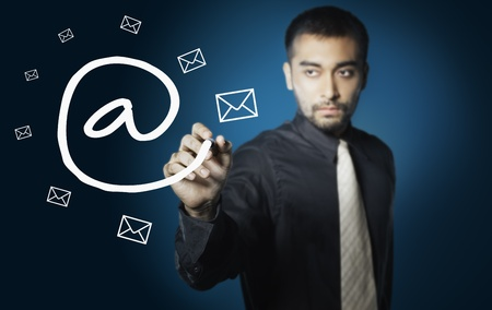 electronic mail: business man drawing social network ,electronic mail Stock Photo