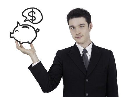 business man with piggy bank drawing photo
