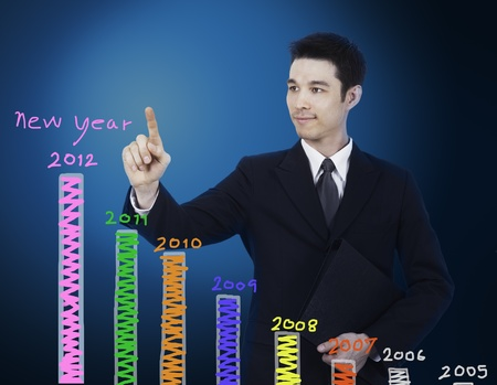 business man write graph of new year photo