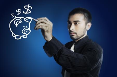 business man drawing piggy bank photo