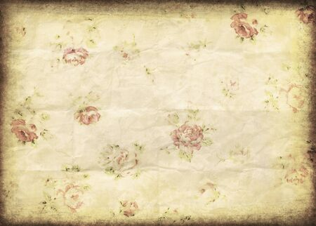 burnt paper: old grunge paper,flower pattern ,retro background Stock Photo